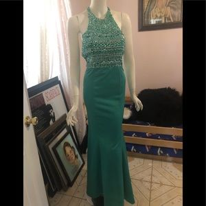 Emerald sequin evening gown